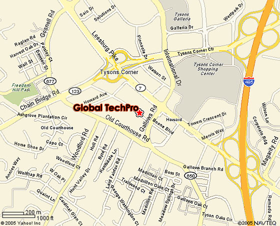 Map showing location of Global TechPro in relation to Tysons Corner, VA area.